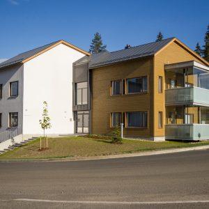 Valmiiksi maalattu, piilokiinnitettävä Topcoat-V ulkoverhouspaneeli. Laajavuori, Jyväskylä.