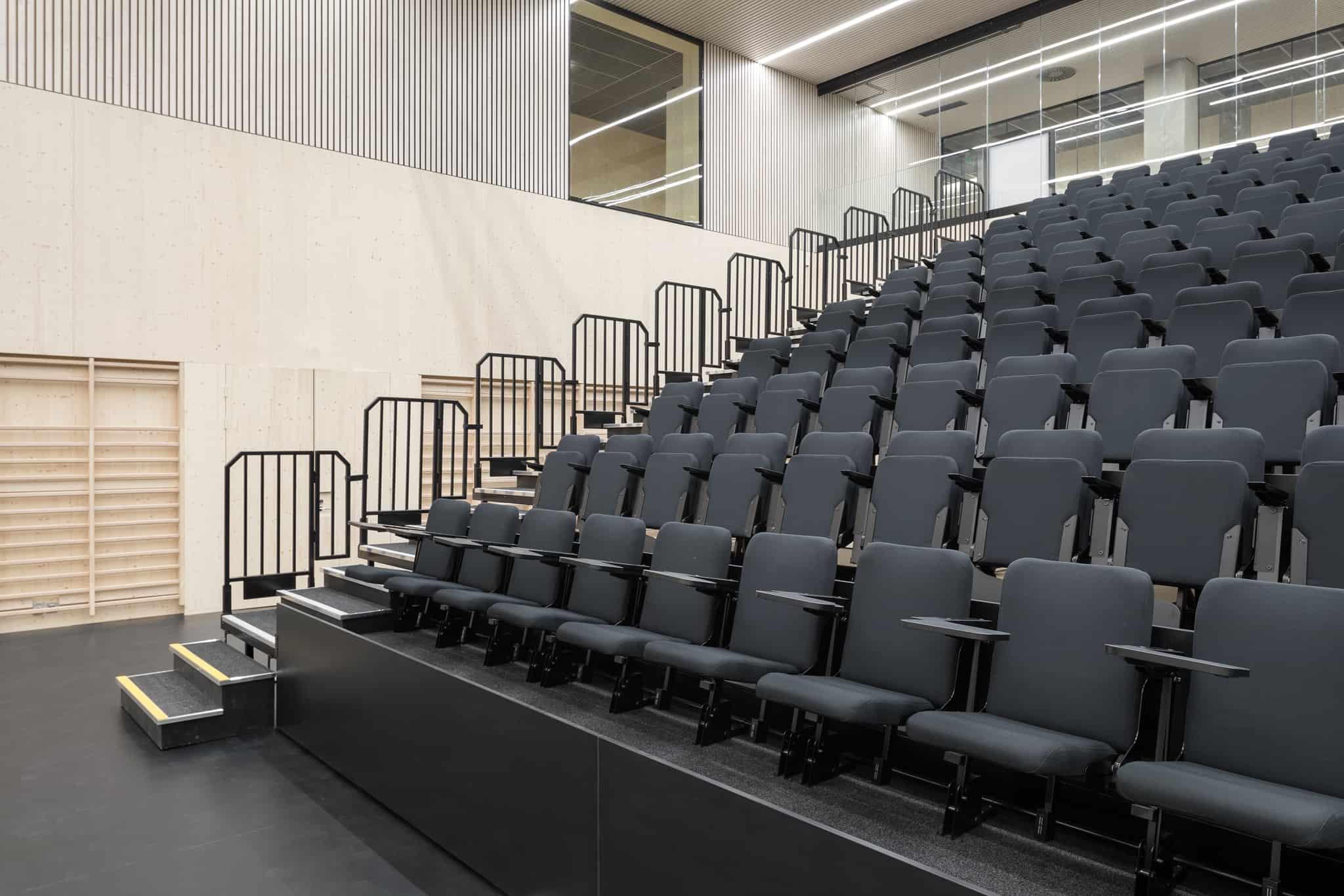 Auditorion katto on kuultavan valkoiseksi käsiteltyä koivua